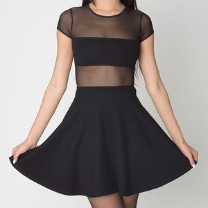 American Apparel Black Mesh Mini Dress